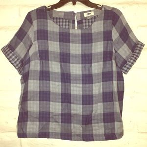 Old navy blue cropped gingham top